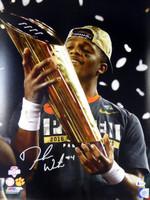 DeShaun Watson Autographed 16x20 Photo Clemson Tigers Holding Trophy BAS