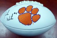 DeShaun Watson Autographed Clemson Tigers White Logo Football BAS