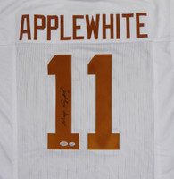 Texas Longhorns Major Applewhite Autographed White Jersey Beckett BAS