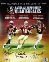 Florida State Seminoles Heisman Trophy Winners Jameis Winston, Chris Weinke & Charlie Ward Autographed 16x20 Photo With Inscriptions Beckett BAS