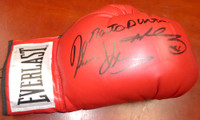 Boxing Greats Autographed Red Everlast Boxing Glove With 3 Signatures Including Sugar Ray Leonard, Thomas Hearns & Roberto Duran RH PSA/DNA Stock #112575