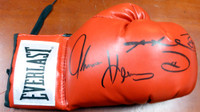 Boxing Greats Autographed Red Everlast Boxing Glove With 3 Signatures Including Sugar Ray Leonard, Thomas Hearns & Roberto Duran RH PSA/DNA Stock #112576