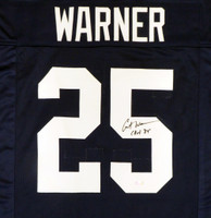 "Penn State Nittany Lions Curt Warner Autographed Blue Jersey ""CHOF 09"" MCS Holo Stock #124673"