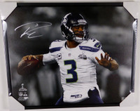 Russell Wilson Autographed Framed 24x30 Canvas Photo Seattle Seahawks Super Bowl XLVIII RW Holo