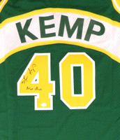 "Seattle Sonics Shawn Kemp Autographed Green Adidas Hardwood Classics Jersey ""Reign Man"" MCS Holo"