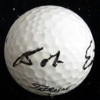 This is a golf ball that has been hand signed by Bob Estes. The autograph has been authenticated by PSA/DNA and comes with their sticker and matching certificate of authenticity.