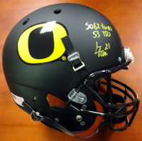 "LaMichael James Autographed Oregon Ducks Full Size Black Helmet ""5082 Yds, 53 TD's"" PSA/DNA Stock"