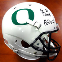 "LaMichael James Autographed Oregon Ducks Full Size Oregon White Helmet ""Go Ducks"" PSA/DNA Stock"