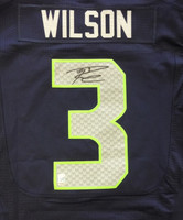 Russell Wilson Autographed Seattle Seahawks Blue Nike Elite Jersey Size 48 RW Holo
