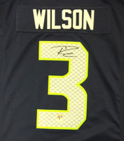 Russell Wilson Autographed Seattle Seahawks Blue Nike Twill Jersey Size L RW Holo Stock
