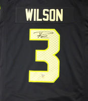 Russell Wilson Autographed Seattle Seahawks Blue Nike Twill Jersey Size XL RW Holo Stock
