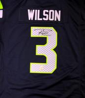 Russell Wilson Autographed Seattle Seahawks Blue Nike Twill Jersey Size XXL RW Holo Stock