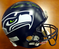 "Russell Wilson Autographed Seattle Seahawks Full Size Super Bowl Helmet ""SB XLVIII Champs"" in Green RW Holo"