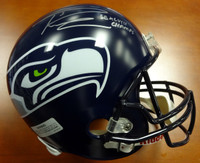 Russell Wilson Autographed Seattle Seahawks Full Size Super Bowl Helmet SB XLVIII Champs in Silver RW Holo