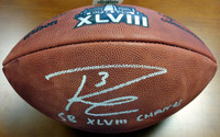 "Russell Wilson Autographed Super Bowl Leather Football Seattle Seahawks ""SB XLVIII Champs"" RW Holo Stock"