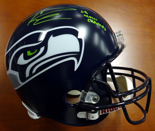 "Russell Wilson Autographed Seattle Seahawks Full Size Helmet ""SB XLVIII Champs"" in Green RW Holo"