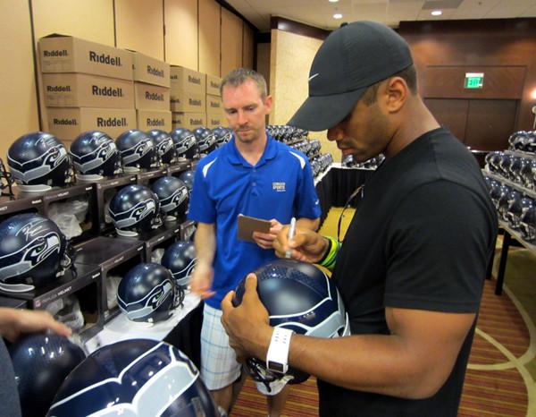 Russell Wilson Autographed Seattle Seahawks Full Size Helmet in Green