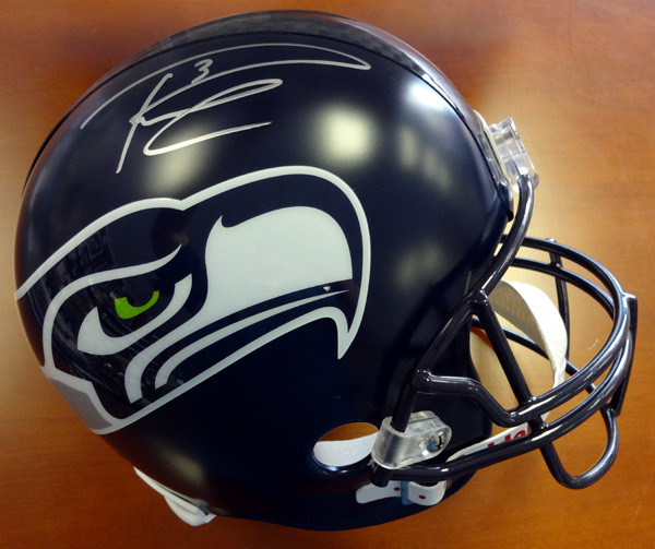 Russell Wilson Autographed Seattle Seahawks Full Size Helmet in Silver RW Holo Stock