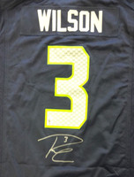 Russell Wilson Autographed Seattle Seahawks Blue Nike Jersey Size L RW Holo Stock
