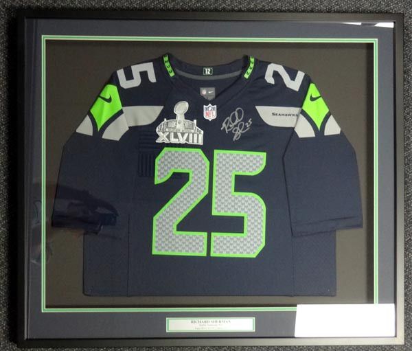 Richard Sherman Autographed Framed Jersey Seattle Seahawks Blue Nike With Super Bowl Patch RS Holo
