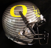 LaMichael James Autographed Oregon Ducks Gray Carbon Fiber Authentic Mini Helmet TriStar