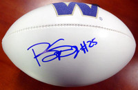 Bishop Sankey Autographed White Logo Football Washington Huskies