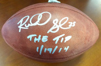 "Richard Sherman Autographed NFL Leather Football Seattle Seahawks ""The Tip 1/19/14"""