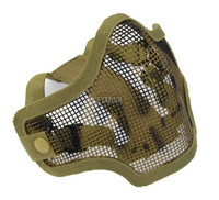 2G Steel Mesh Half Face Mask for Airsoft, Tan with Skull