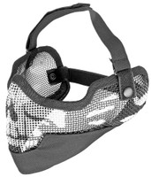 3G Steel Mesh Half Face Mask, Deluxe Version w/ Ear Protection, Black w/ Skull Design
