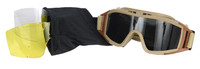 Lancer Tactical Airsoft Safety Goggles, Standard, Desert Tan Frame, Multi-Lens Kit