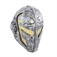 Army of Two FMA Templar Airsoft Mask, Stamped Steel Mesh, Silver/Gold