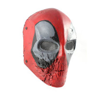 Army of Two Red and Black Skull Airsoft Mask, Stamped Steel Mesh, Red/Black