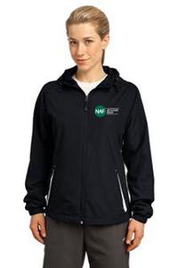 Ladies Colorblock Hooded Raglan Jacket (Black)