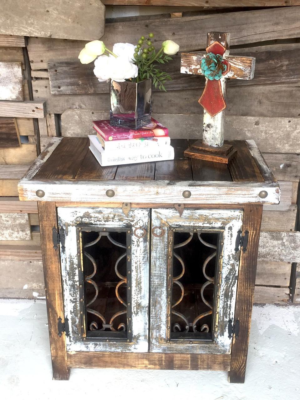 Iron Door Side Cabinet in White