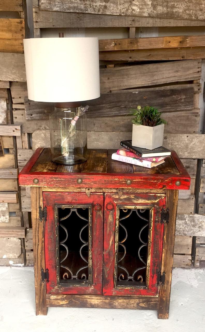 Iron Door Side Cabinet in Red