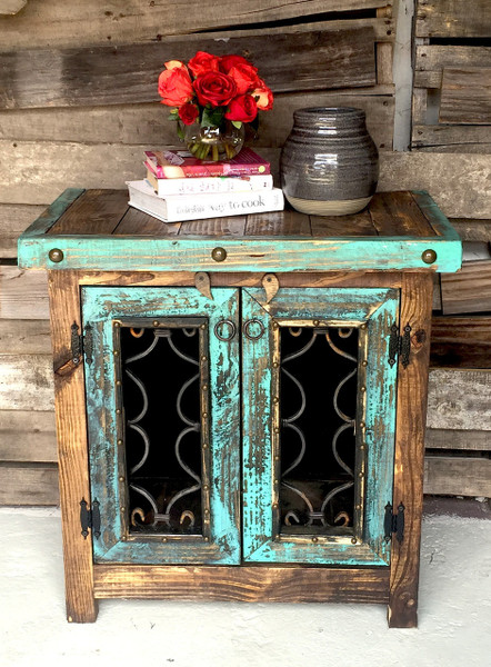 Iron door side cabinet sofia39s rustic furniture for Kitchen colors with white cabinets with rustic iron candle holders