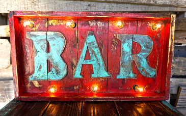 Bar Wood Marquee in Red with Turquoise Wood Letters