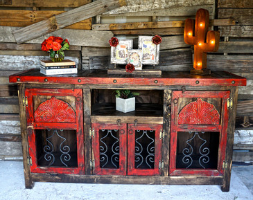 Marvelous Agave Iron Buffet In Red