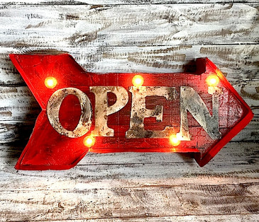 Open Arrow Wood Marquee in Red