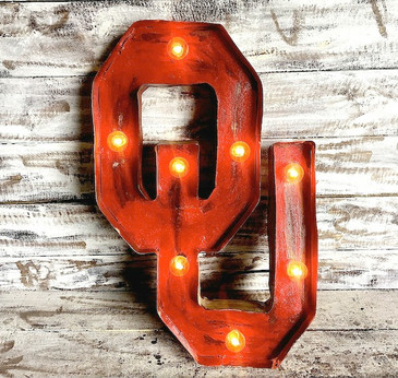 OU Metal Marquee in Red
