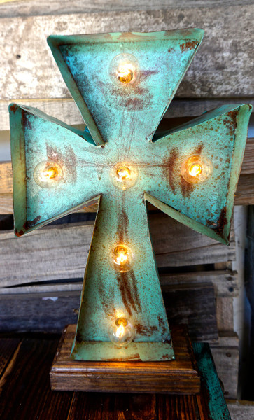Cross 2 Metal Marquee in Turquoise
