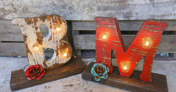 Wood Letter Marque light