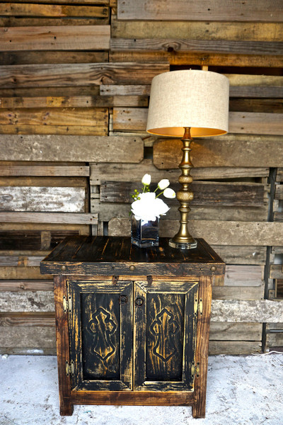 Carved Cross Side Table in Black.