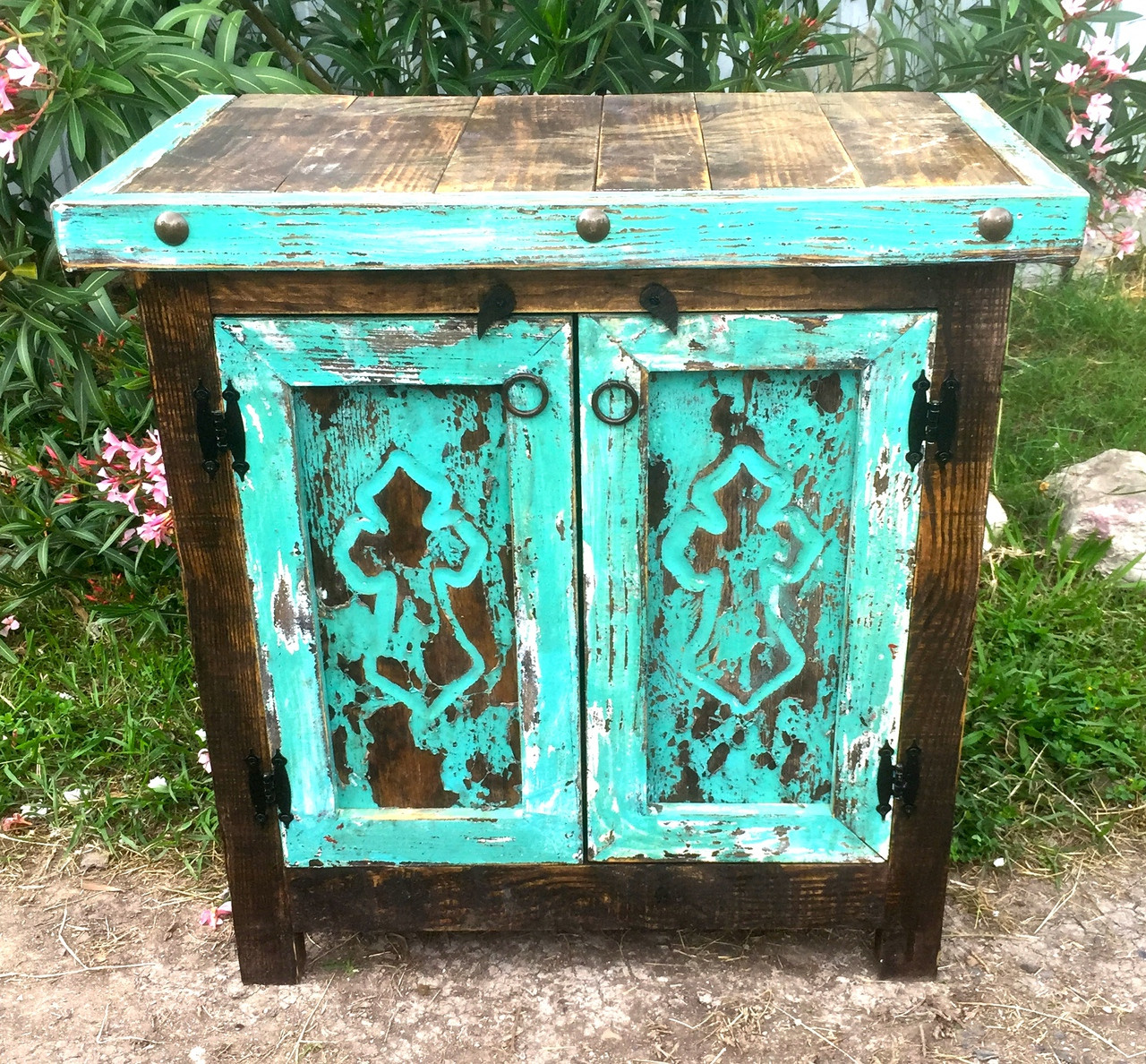 Carved Cross Side Table in Turquoise