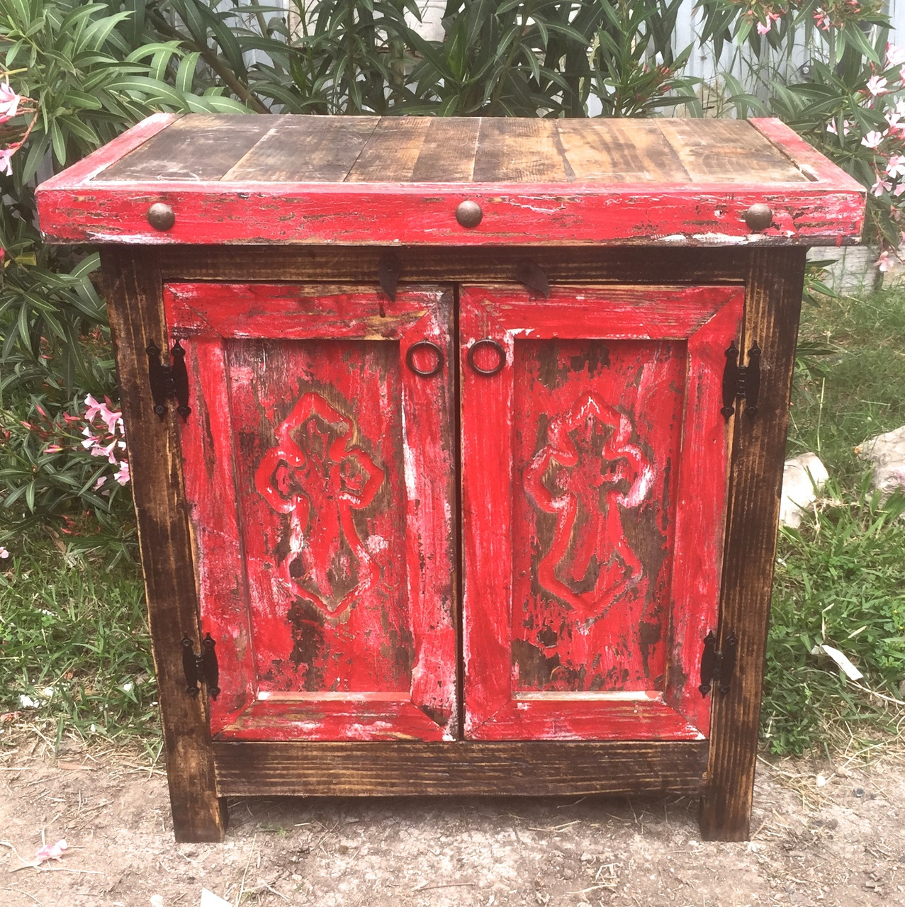 Carved Cross Side Table in Red