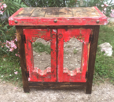 Mirrored Side Table in Red
