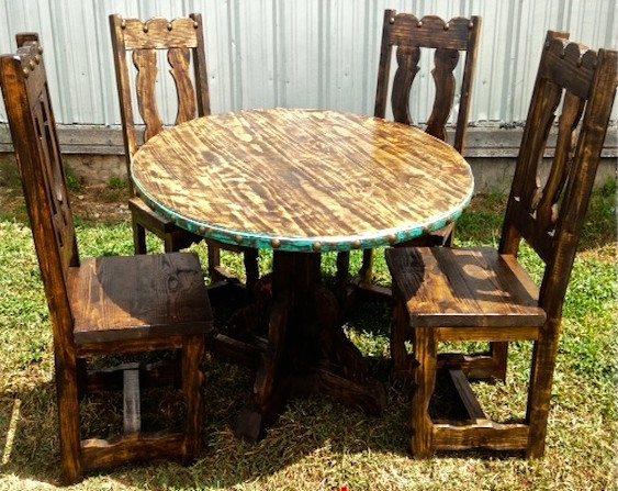 Redondo Rustic Dining Set in Turquoise