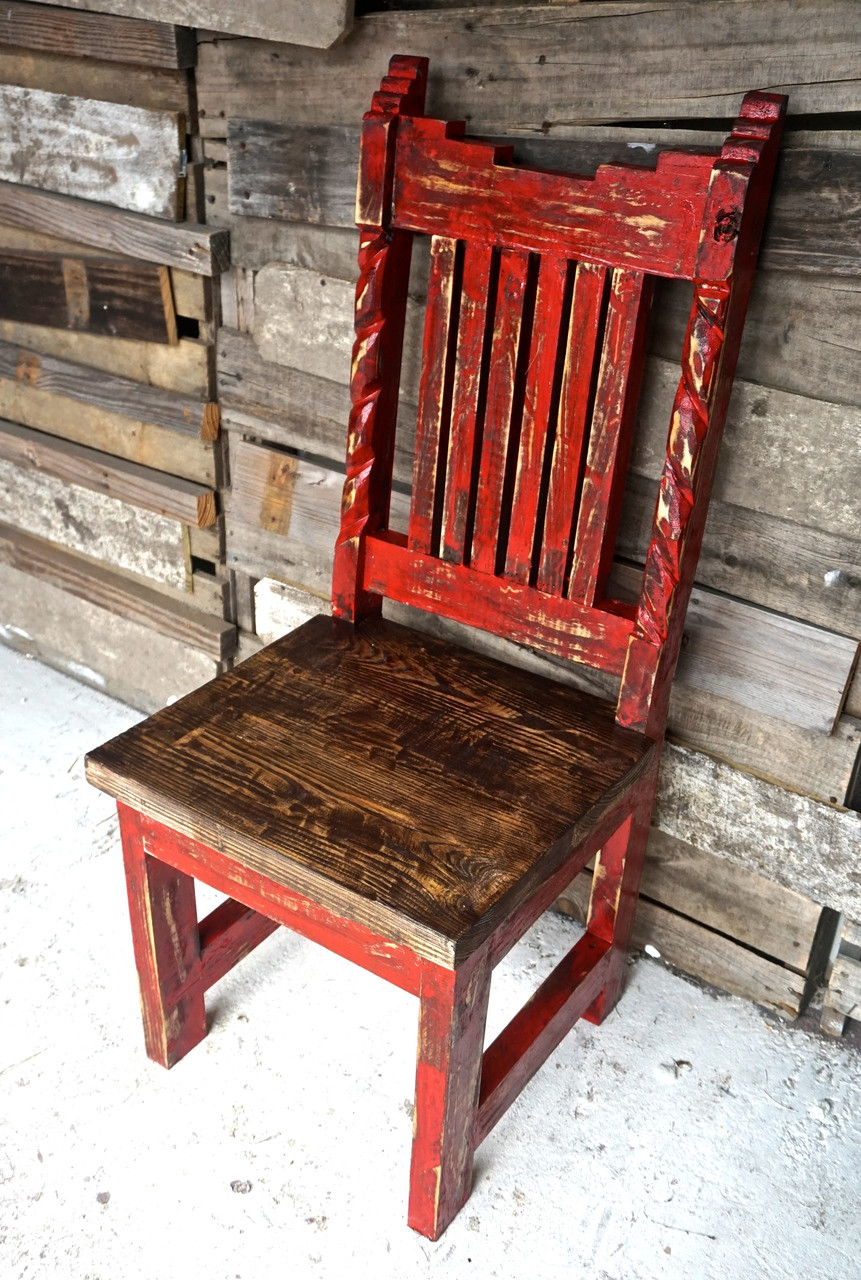 ... Azteca Carved Dining Chair In Red
