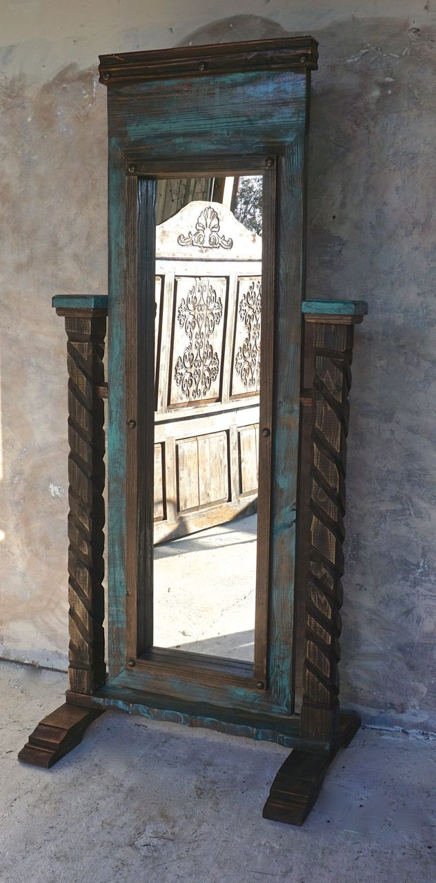 Santa Cruz Mirror- Turquoise & Walnut