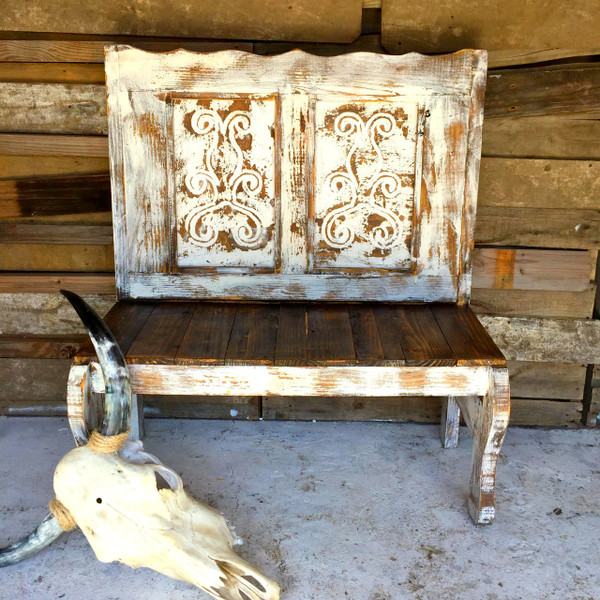 Rustic Handmade Carved Agave Bench Shown in White